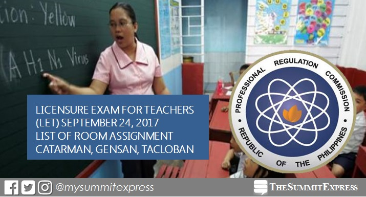 Room Assignment September 2017 LET: Catarman, Gensan, Tacloban