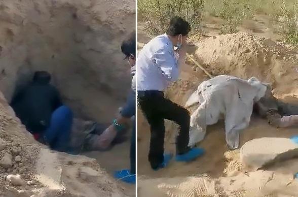 Китаец похоронил заживо немощную мать. Женщину спасли и отправили в больницу!