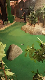 Richard playing at Paradise Island Adventure Golf in the Trafford Centre, Manchester
