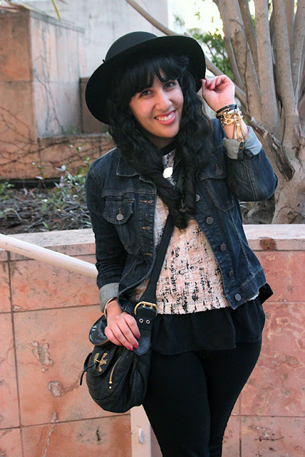 Denim Jacket Forever 21 Black Wool Hat SF Blogger Style