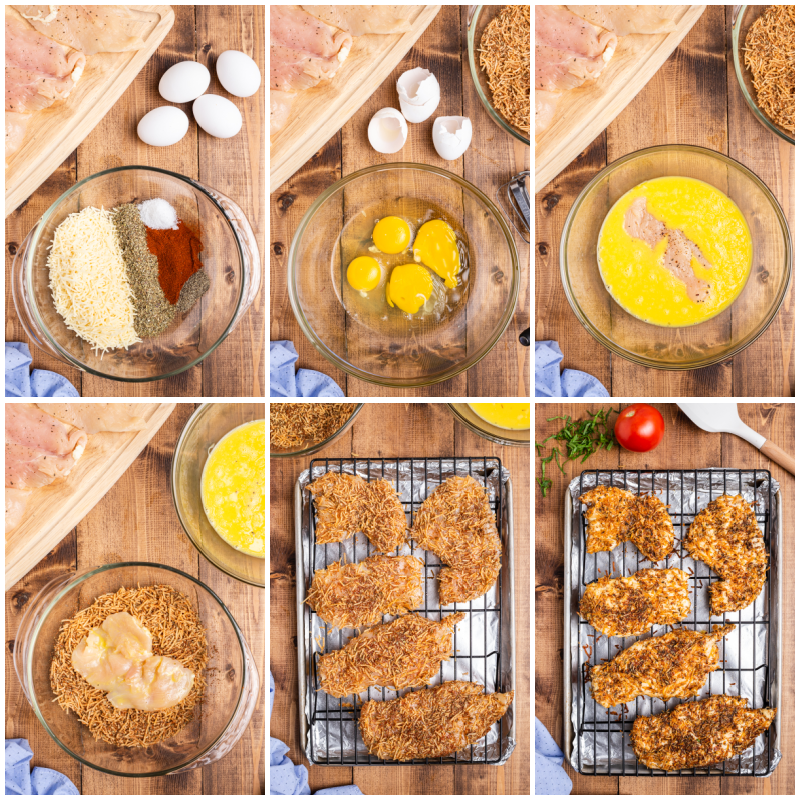 Six photos of the process of making Keto Parmesan Chicken Cutlets
