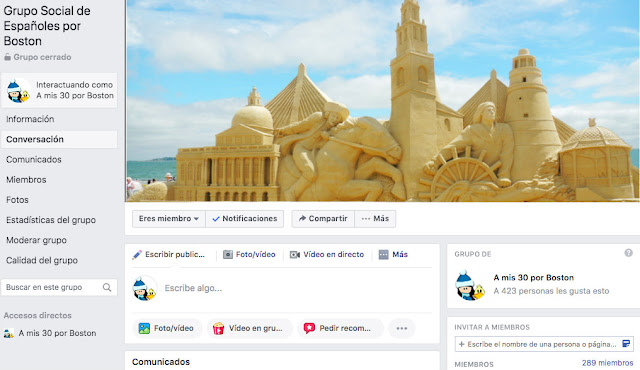 Captura de Pantalla del Grupo Social de Españoles por Boston en Facebook