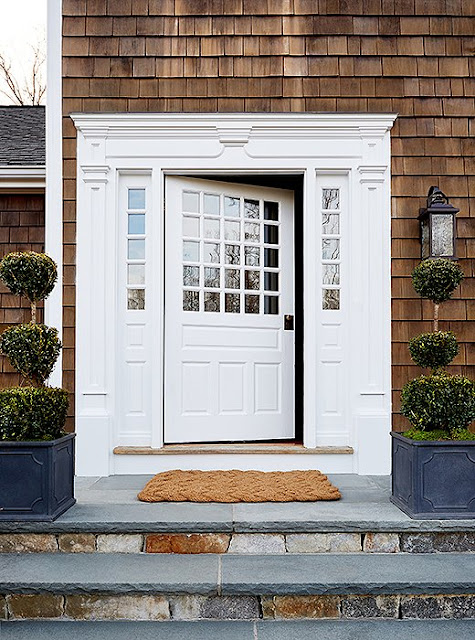 Gorgeous shingled entrance and front door of Connecticut farmhouse of Debbie Propst of One King's Lane - found on Hello Lovely Studio