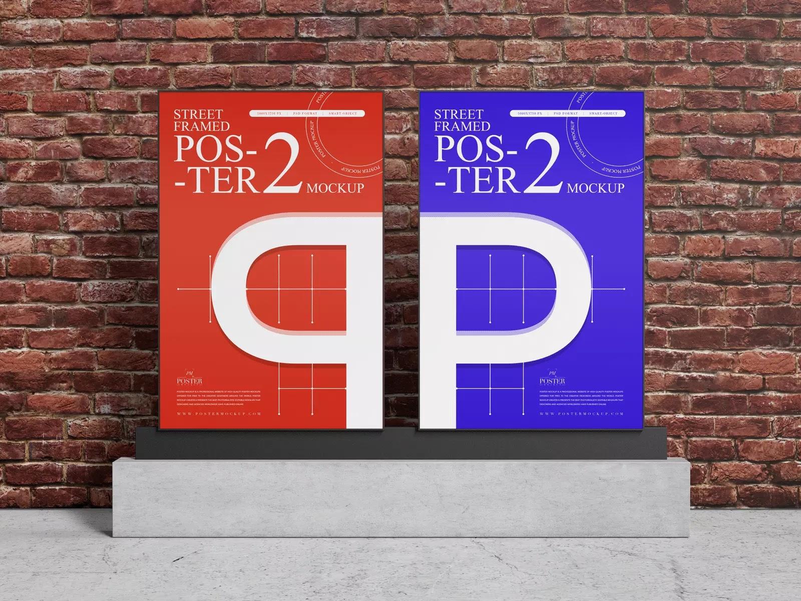 Street-Two-Framed-Poster-PSD-Mockup