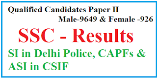 Results SSC SI in Delhi Police CAPFs and ASI in CISF