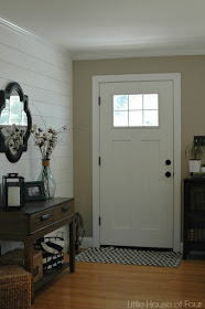 wood plank wall and front door