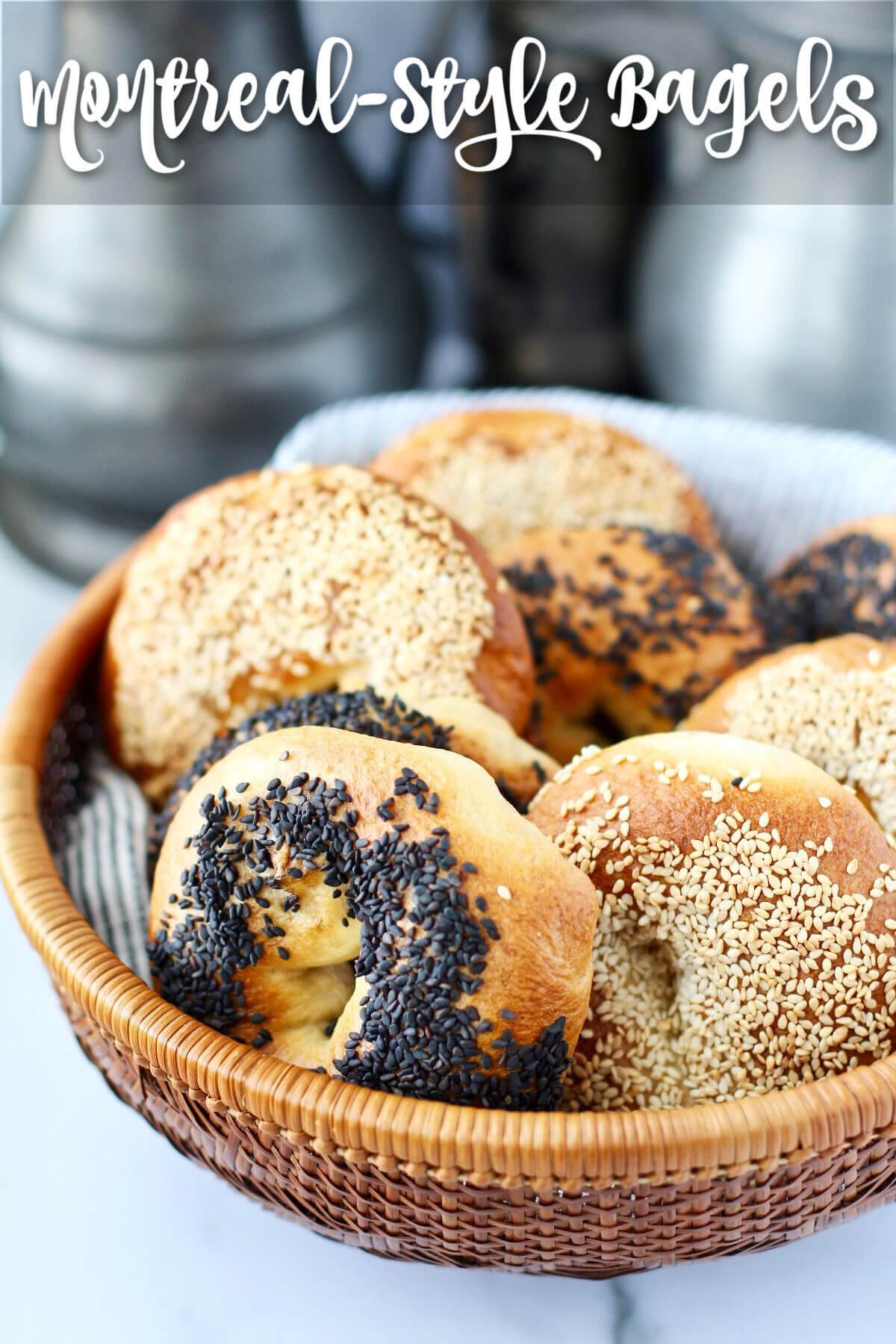 Montreal-Style Bagels in a basket