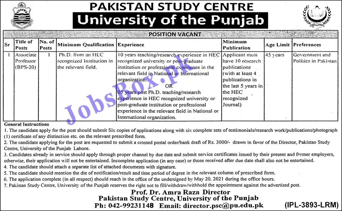 www.pu.edu.pk Jobs 2021 - Punjab University PU Jobs 2021 in Pakistan - University of the Punjab Careers - Associate Professor Recruitment