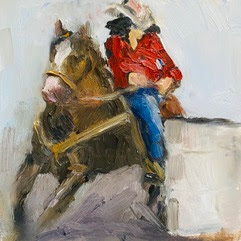 small oil painting barrel racer loose colorful energetic