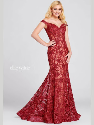 Ellie Wilde off-the shoulder Wine color Prom dress