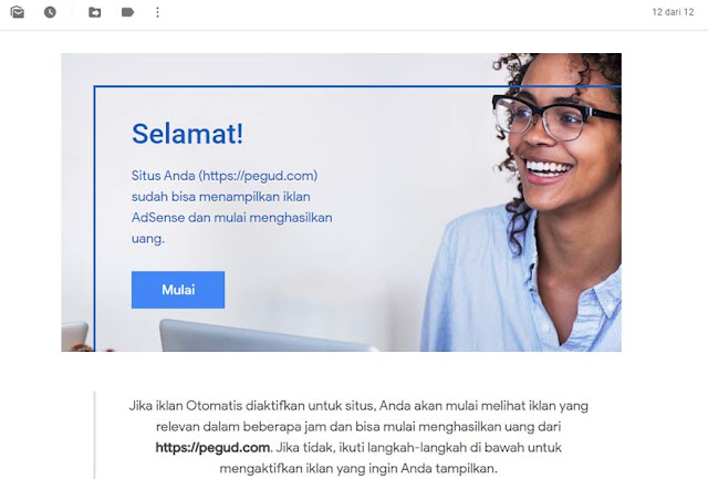 Email bahwa situs diterima menjadi publisher google Adsense