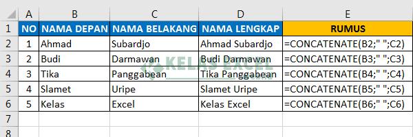 Cara Menggabungkan Dua Kolom Excel