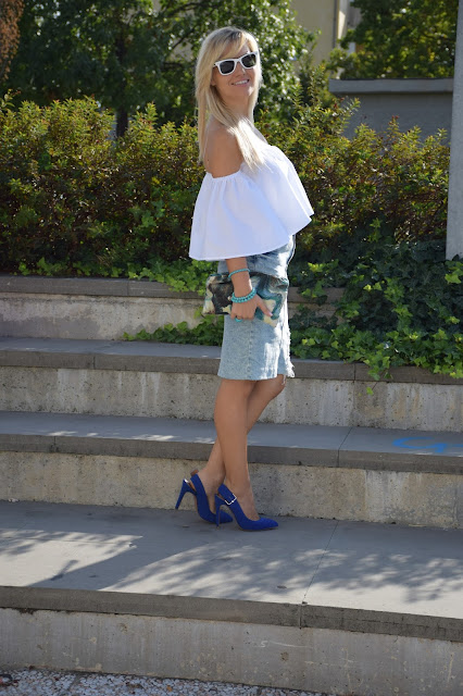 outfit gonna di jeans come abbinare la gonna di jeans abbinamenti gonna jeans outfit settembre outfit estivi blogger mariafelicia magno fashion blogger colorblock by felym fashion blog italiani blogger di moda web influencer italiane