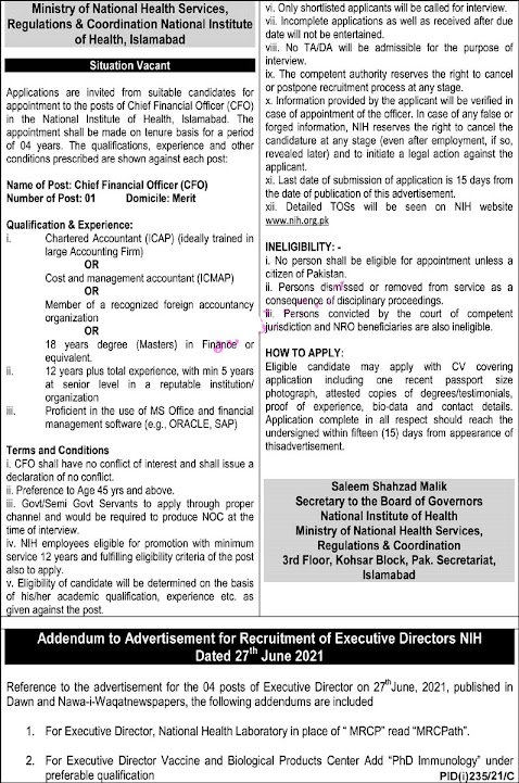 Latest Jobs in National Institute of Health NIH 2021