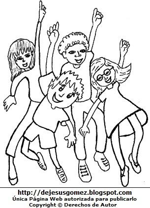 Dibujo de jóvenes saltando por el Día de la Juventud para colorear, pintar o imprimir. Dibujo de juventud de Jesus Gómez