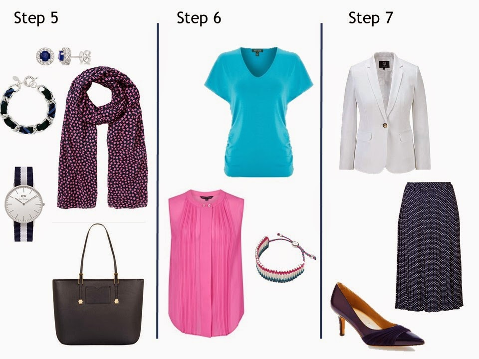 Steps 5, 6, and 7 in the Starting From Scratch Navy and White wardrobe