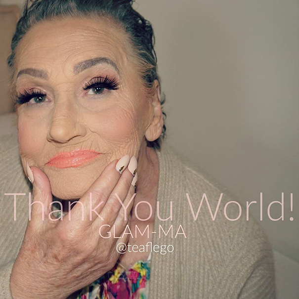 "Now ""Glam-Ma enjoys her popularity"" - 80-Year-Old Grandma Asks Her Granddaughter For A Makeup, Becomes Internet Sensation"