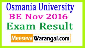 Osmania University BE Nov 2016 Exam Results