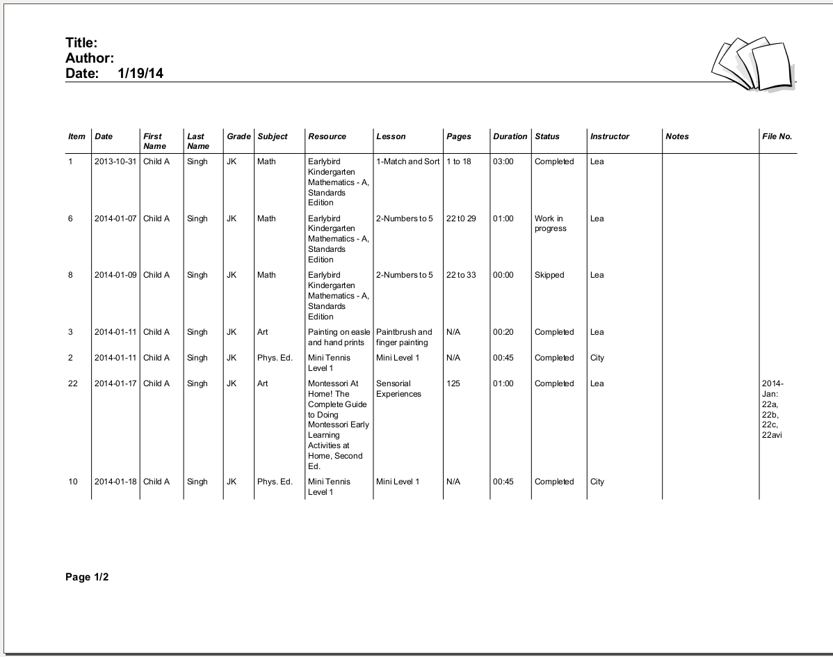 Academic report – Student Progress Report Format