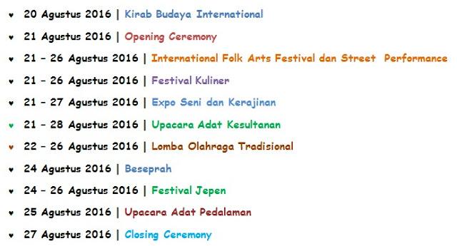susunan acara Event Tenggarong Festival Erau Adat Kutai dan International Folk Art 2016