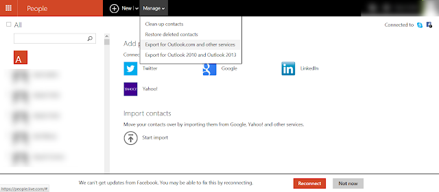 export csv file from outlook.com