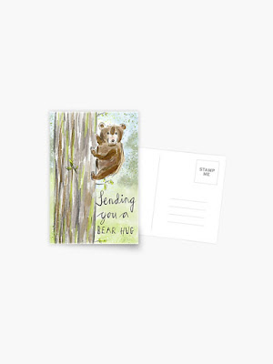 """Postcard of an illustration of a  bear cub hugging a tree with the message, """"Sending You a Bear Hug<"""""""
