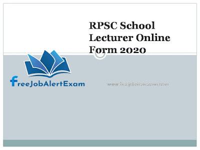 RPSC School Lecturer Online Form 2020