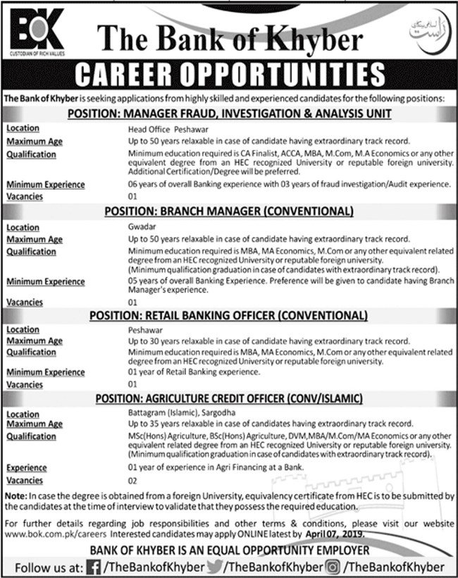The Bank of Khyber (BOK) Jobs 2019 for Various Banking Posts (Multiple Cities)