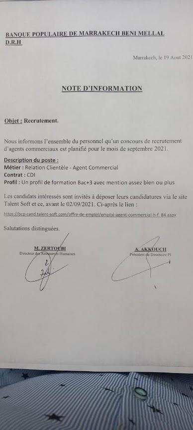 Concours de recrutement - Banque Populaire - DRH