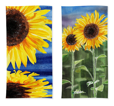 Beach Towels with Sunflowers painting artist Irina Sztukowski