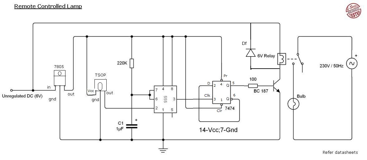 Remote Control Light Circuit Diagram Using 555 Timer