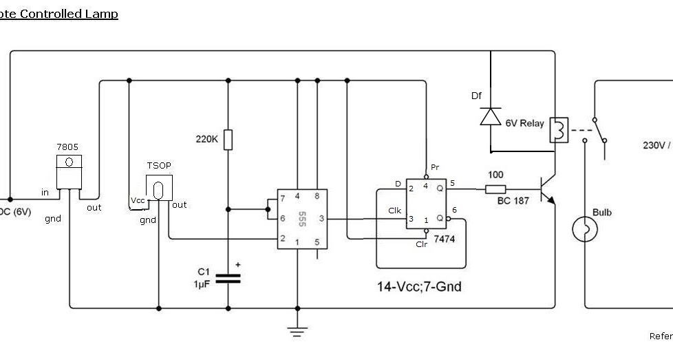 remote control light circuit diagram using 555 timer | minor projects for  engineering students