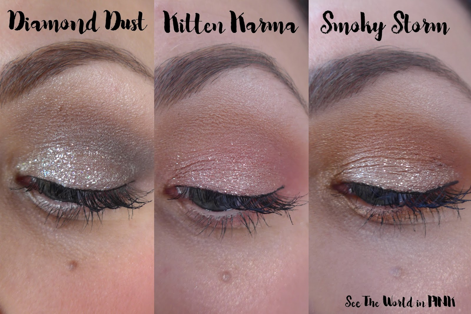 Stila Written in the Stars Glitter & Glow Liquid Eye Shadow Set - Diamond Dust, Kitten Karma and Smoky Storm ~ Swatches and Thoughts