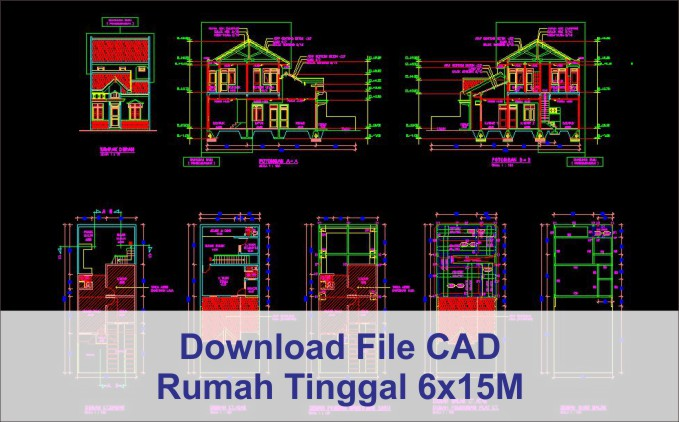 download rumah 6x15 File AutoCad