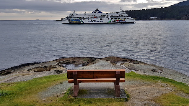 A BC ferry enters Active Pass on its way to Vancouver Island.