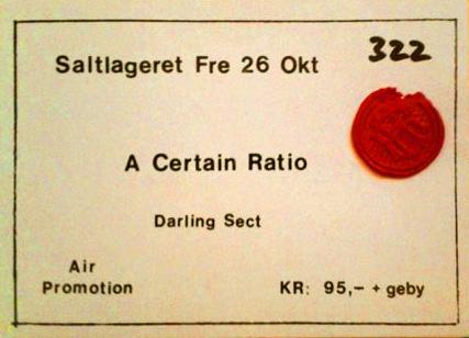 26 October 1983, Saltlageret, Copenhagen, Denmark - ACR Gigography