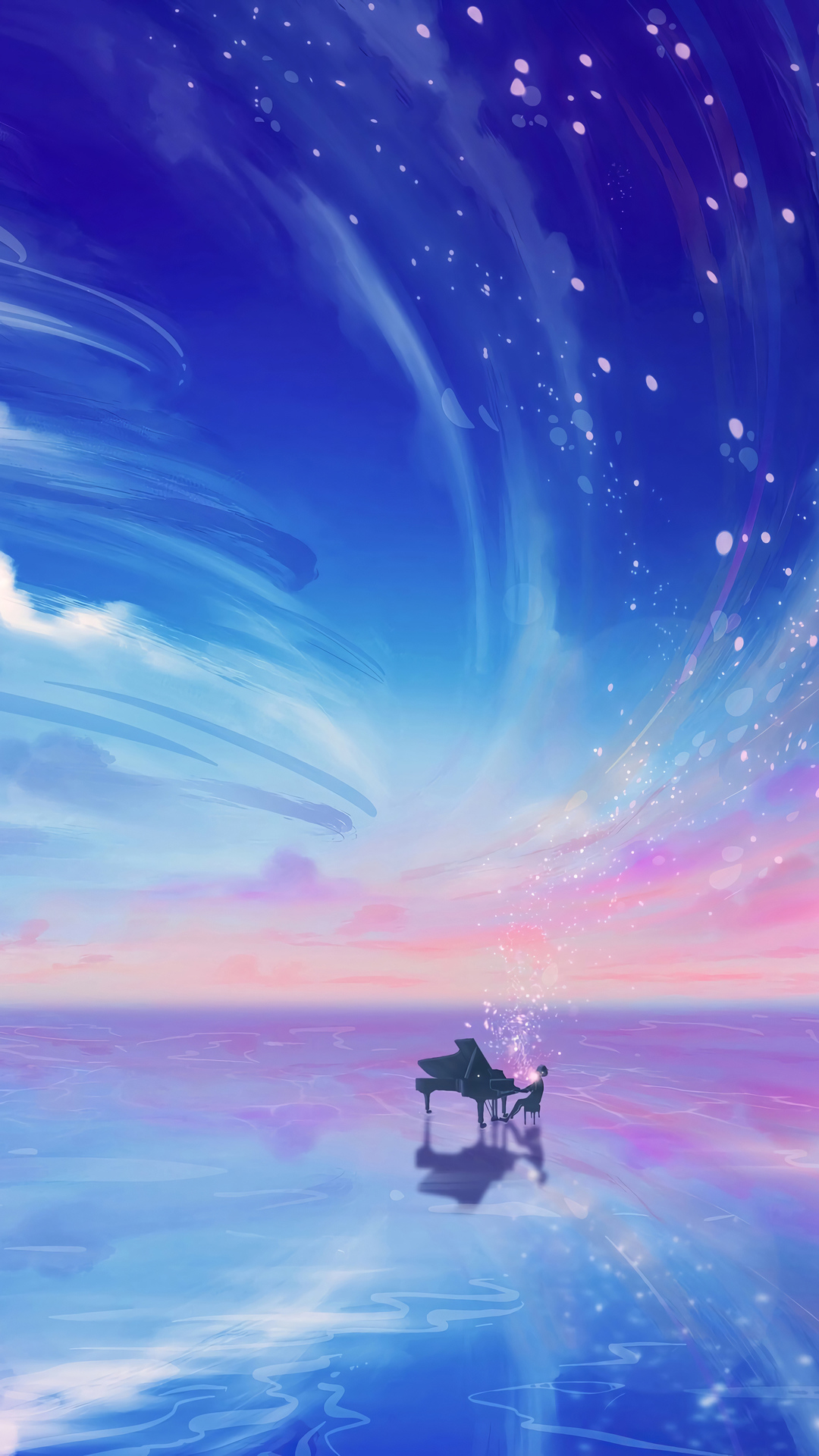 Anime Girl Playing Piano Wallpaper