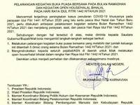 SE Mendagri: Pelarangan Kegiatan Buka Bersama, Halal Bihalal, Bulan Ramadhan & Hari Raya Idul Fitri 1442 H