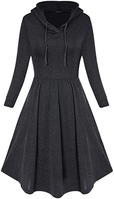 60% Women's Casual Hooded Pleated Swing Dress
