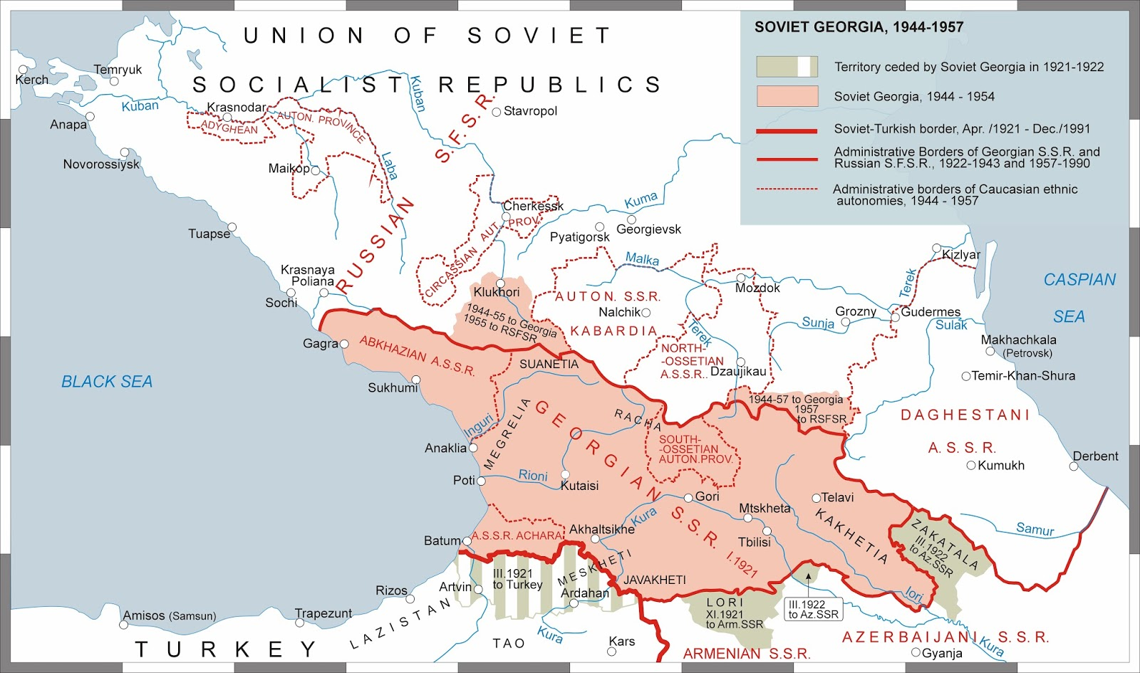 Soviet Georgia Map.Territorial Evolution Of Soviet Georgia 1600x945 Mapporn