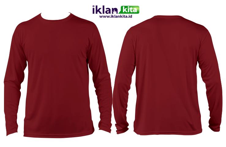 Mentahan Kaos Polos Merah Maroon Depan Belakang