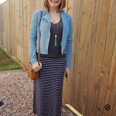 awayfromblue Instagram | SAHM mum style navy stripe maxi skirt grey tee denim jacket rebecca minkoff camera bag