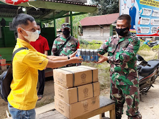 Pelda Suki Widodo Cek Posko Desa Aman COVID-19 di Desa Guhung Melawi