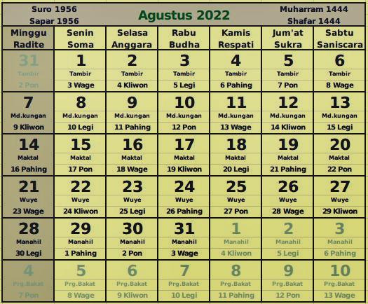 download kalender agustus 2022