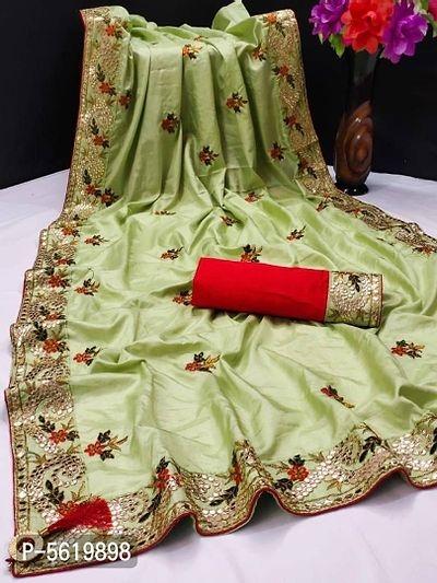 Silk Blend Gotta Patti Embroidered Sarees with Blouse Piece   Saree Online Shopping   Sarees Online  