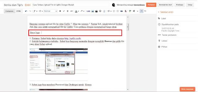 """Pilih posisi dimana nanti url akan diletakkan.  Sobat juga bisa menambah kalimat """"Baca Juga """" atau lainnya."""