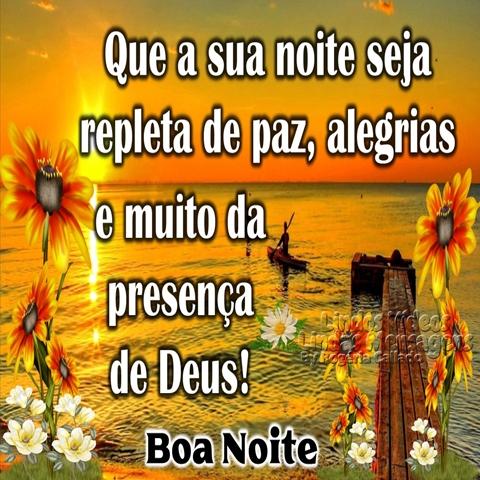 Que a sua noite seja  repleta de paz, alegrias  e muito da presença  de Deus!  Boa Noite!