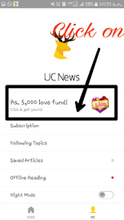 "Uc News App Back again with awesome offer through which you can earn Rs.5000 directly in Your bank account . AS we know that few days back it offered Refer & Earn program & we also Sucessfully got the money in our Bank account . Thus we can say that this is fully trusted . So we can use this Awesome offer by Uc News App & Earn Rs.5000 directly in our Bank by just Refering friend .  Abou Uc News App:- Few months ago it started by naming 'Uc News App' . So this is the News app with More than 100M userd. So we can say that this is the news app & Also giving the opportunity to Earn Rs.5000 directly in Your Bank Account .  So without wasting your Time further proceed and grab this Offer by Uc News App.   Steps To Follow To Grab This Offer :-    • Firstly  Install Uc News App from Here.  • Now open Uc News App &  Click on ' Me'.   • After Clicking on Me        Click  on "" Rs.5000 Love Fund "".   • Now You can see a option there that enter refer code. Click on that & Put this code-       10079165  •  Boom!! Done Now you ready to refer your friends .   Finally Start referring your friends and get Rs.5000 directly in Your bank .   ● Now in refer Page You can see some Dintance in Km . You have to travel it by treferring your friends .  Whan you see that 0Km Left then You can redeem your earnings directly in your bank account .   How To Redeem :-   * Once You Complete To 0km Then You can see An alternate Option to Enter Your Bank details like. Bank Account Number ,IFSC CODE,Account Holder Name & Account Number ."