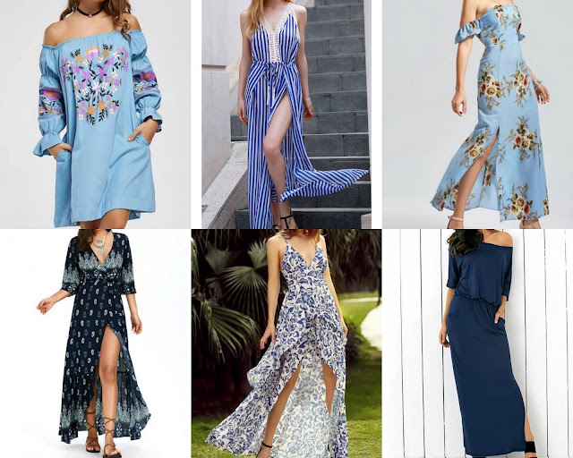 Rosegal Blue Maxi Dress