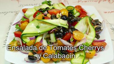 Ensalada de tomates cherrys y calabacín